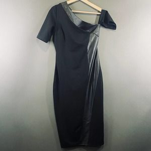 asos short sleeve one shoulder black midi dress
